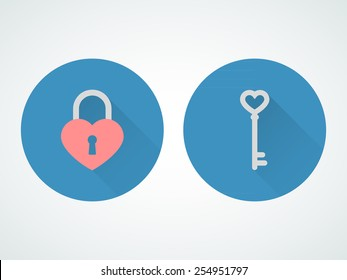 Heart lock and key. Flat design