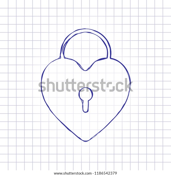 Heart Lock Padlock Simple Silhouette Hand Stock Vector