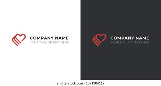 Heart logo for company. The symbol of three hearts. Vector logo design