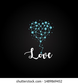 Heart logo with the concept of networking, the logo can be used for matchmaking companies or the like.