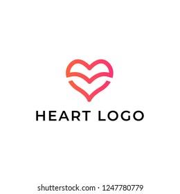 Heart logo design. Abstract line medical health logo icon design
