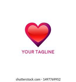 Heart Logo design vector template. Logotype concept icon