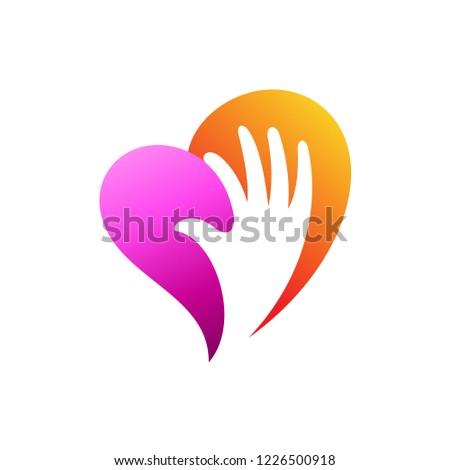 178e53c748a1 Стоковая векторная графика «Heart Logo Hand Shape Inside Charity ...