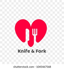 Heart logo icon for healthy food and diet or vegetarian nutrition supplement and vitamins. Vector isolated modern heart and fork with knife symbol for dieting or medical pharmacy