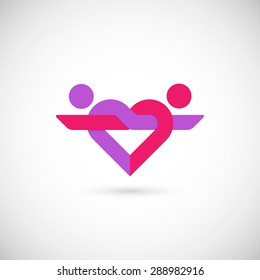 Heart logo of linked couple in love. Isolated on white background. Vector design template, eps 10.
