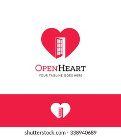Heart logo with an open door for charity or giving organization