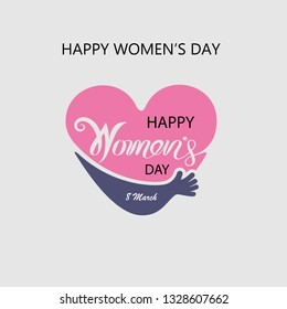 Heart logo and Pink Happy International Women's Day Typographical Design Elements.Women's day symbol. Minimalistic design for international women's day concept.Vector illustration