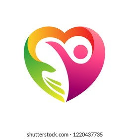 heart logo symbol with people and hand care shape, human love and protection, childcare, healthy life vector icon illustration