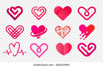 Heart logo vector icons set. Isolated modern heart symbol for cardiology pharmacy and medical center. Valentine love or wedding greeting card fashion design for web social net application