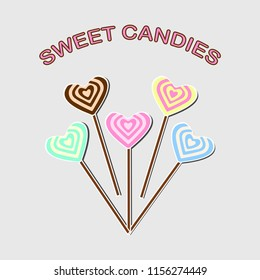 Heart lolipop icon isolated on background. Bright caramel with stick. Sweet candy. Childhood concept. Vector flat gesign
