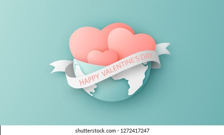 Heart of love around the world in Valentine's day. Earth with heart and paper ribbon with text Happy Valentine'Day. paper cut and craft style. vector, illustration.