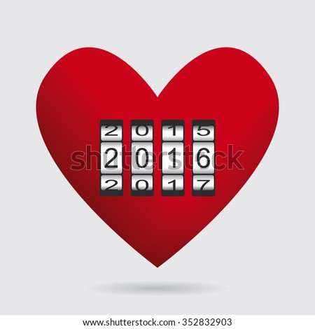 Heart Love Counter Happy New Year Stock Vector Royalty Free