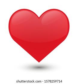 Heart Love Emoji Icon Object. Symbol Gradient Vector Art Design Cartoon Isolated Background.
