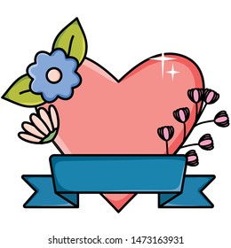 heart love with flower and ribbon pop art style