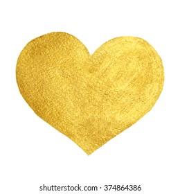 Heart Love Gold Watercolor Texture Paint Stain. Golden design element.