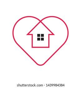 Heart Love Home Business Company Vector Logo Design