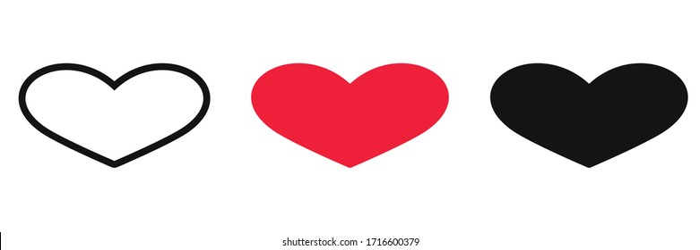 Heart and Love Icon Symbol isolated white background. vector illustration. color editable.