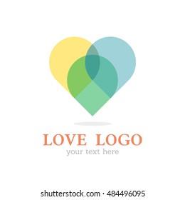 HEART LOVE LOGO ICON THREE COLOR