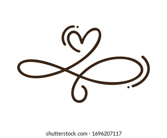 Heart love logo with Infinity sign. Design flourish element for valentine card. Vector illustration logo. Romantic symbol wedding. Template for t shirt, banner, poster.