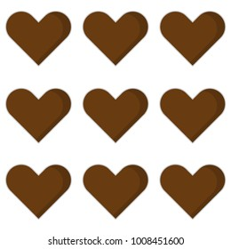 heart love pattern icon with brown color