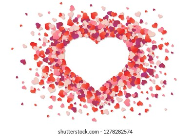 Heart, love. Red and pink confetti splash. Frame of scatter confetti in shape of heart. Valentine's day. A bunch of little hearts. Cute realistic design. Rose petals. Flat style vector illustration.