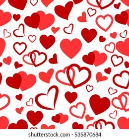 Heart Love Seamless Pattern Background. Vector romantic hearts seamless cartoon pattern background