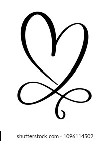 Heart love sign forever for Happy Valentines Day. Infinity Romantic symbol linked, join, passion and wedding. Template for t shirt, card, poster. Design flat element. Vector illustration.