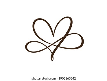Heart love sign forever. Infinity Romantic symbol cut linked, join, passion and wedding logo. Template for t shirt, card, poster. Design flat element of valentine day. Vector illustration.