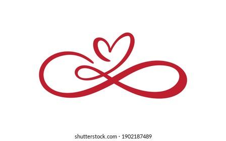 Herz-Liebeszeichen für immer Laserschnitt. Unendlich Romantisches Symbol verbunden, verbinden, Leidenschaft und Hochzeitslogo. Vorlage für T-Shirt, -Karte, -Poster. Design flach Element des Valentinstag. Vektorgrafik.