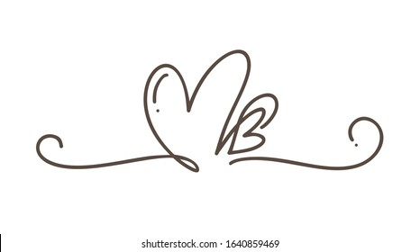 Heart love sign logo. Design flourish element valentine card for divider. Vector illustration. Infinity Romantic symbol wedding. Template for t shirt, card, poster.
