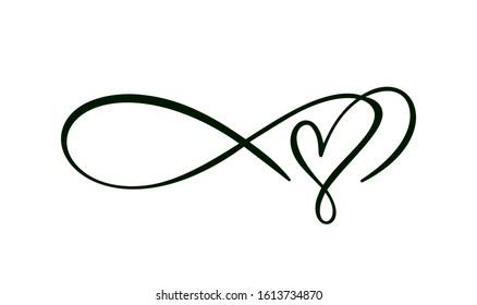 Heart love sign logo. Infinity Romantic symbol wedding. Design flourish element for valentine card. Vector banner illustration. Template for t shirt, poster.