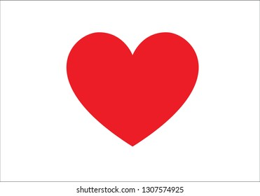 Heart, love symbol drawn by hand. Flat red isolated on white background. Vector