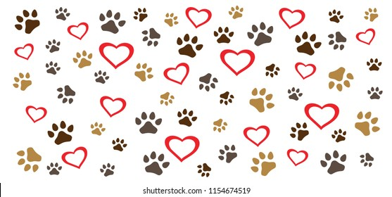 Heart love Valentine footsteps foot feet cat puss hound dog dogs paw woof puppy foot print vector eps icon footprints fun funny paws  sign signs foot walks walking footmark steps toy bone Animal day