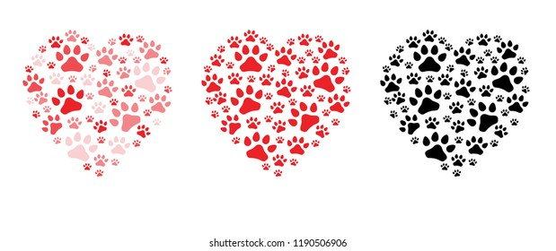 Heart love Valentine footsteps foot feet cat puss hound dog dogs paw woof puppy foot print vector eps icon footprints fun funny paws  sign signs foot walks walking footmark Animal day steps toy bone