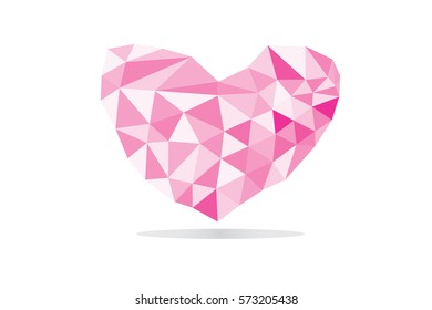 heart of love Valentine's day polygonal abstract background.