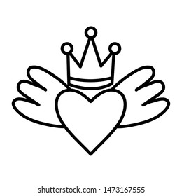 heart love with wings and crown pop art style