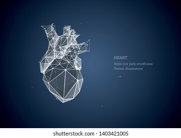 Heart. Low poly wireframe style. Technology and innovation in medicine. Abstract illustration isolated on dark blue background. Particles are connected in a geometric silhouette.