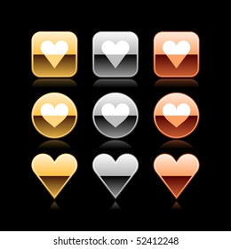 Heart luxury metal web button icon with reflection on black