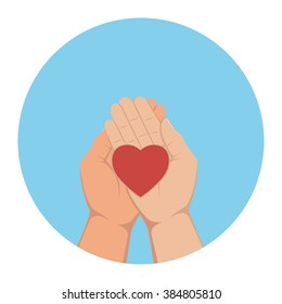 The heart lying in palms of hands. Vector illustration.