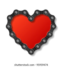 Heart made of chain. Vector.