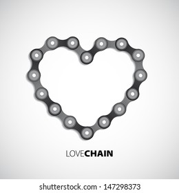 Heart made of chain - Vector illustration