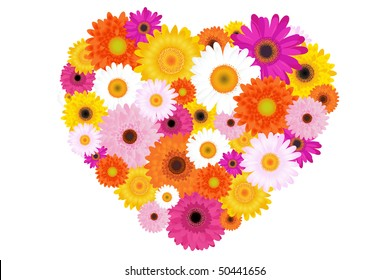 Heart Made Of Colorful Daisies, Isolated On White
