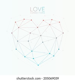 Heart made with connected dots,  triangles light background