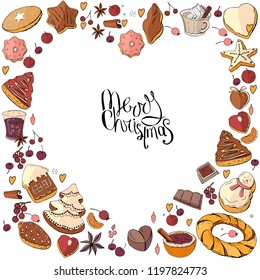 Heart made of different christmas winter desserts, sweets and food. Design template for restaurant and cafe menu.