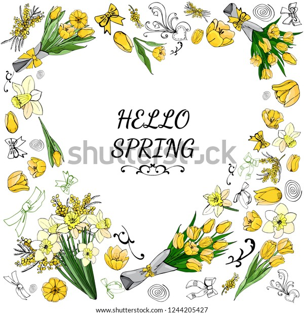 Heart made of  different yellow and green floral elements. Template for greeting card and invitation. Colored hand drawn  sketch on white background. Vector illustration.