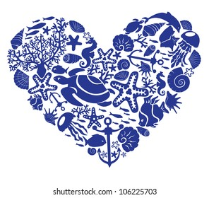 Heart is made of fishes, corals, shells, starfishes, dolphins, seahorses, tortillas.