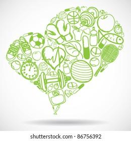 Heart made of fitness symbols - vector illustration