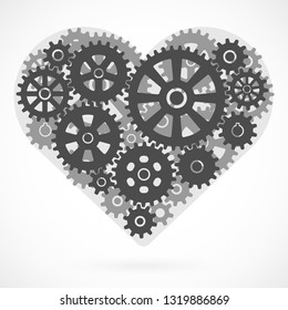 Heart made of gears. Romantic concept (fusion of feeling and science). Vector illustration. Template for cards and posters for lovers isolated on white. Mechanism with involute gearing of cogwheels.