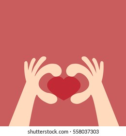 Heart made with hands.Concept love
