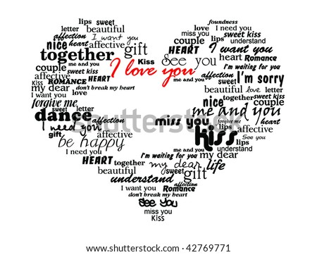Heart Made Of Love Words Valentine Vector Il Ration